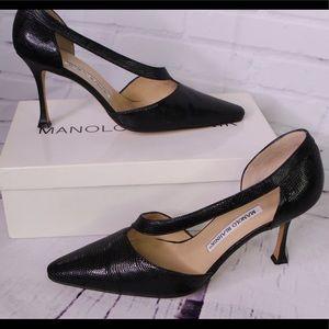 Manolo Blahnik Black Lizard Leather Heels Shoes